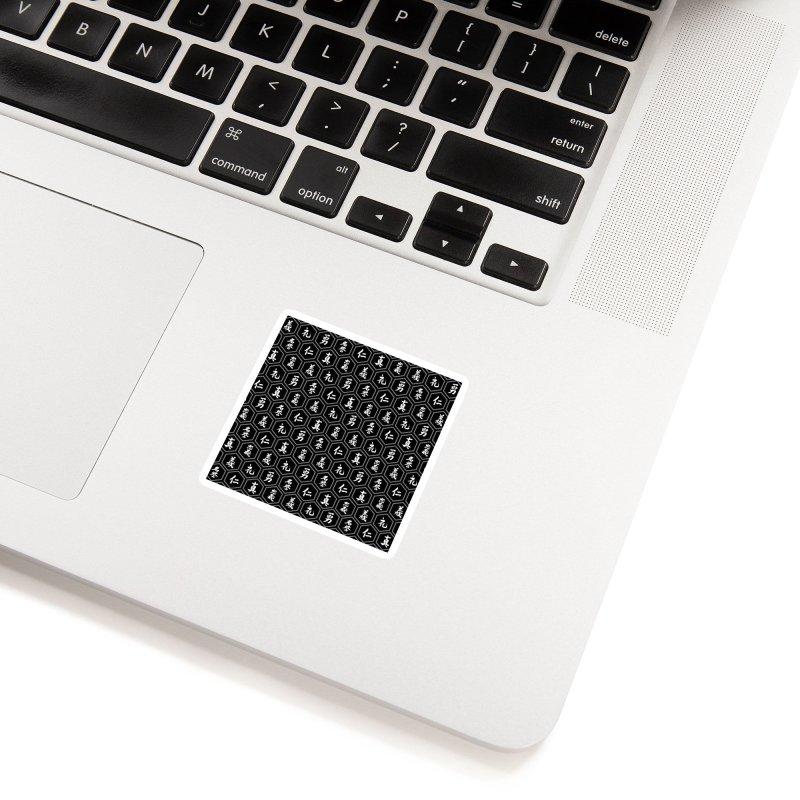 Bushido Seven Virtues Japanese Samurai Kanji Pattern Hex BLACK Accessories Sticker by Grandio Design Artist Shop