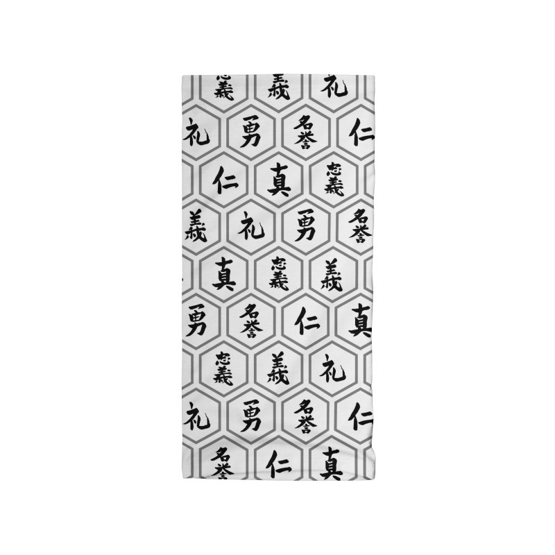 Bushido Seven Virtues Japanese Samurai Kanji Pattern Hex WHITE Accessories Neck Gaiter by Grandio Design Artist Shop
