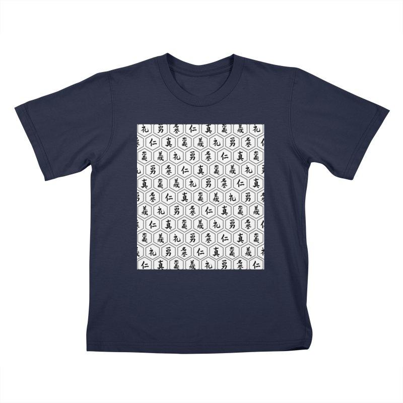 Bushido Seven Virtues Japanese Samurai Kanji Pattern Hex WHITE Kids T-Shirt by Grandio Design Artist Shop