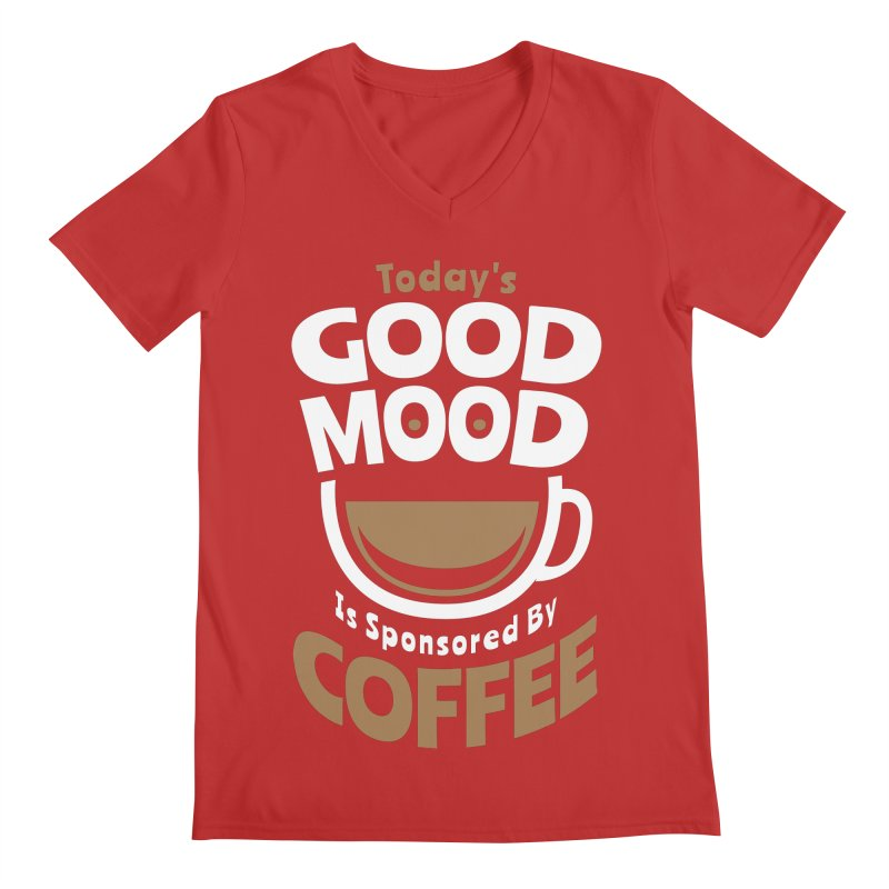 Today's Good Mood Is Sponsored By Coffee Smiley Face Cup Men's V-Neck by Grandio Design Artist Shop