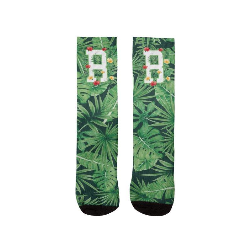 Capital Letter R Alphabet Monogram Initial Flower Gardener Men's Socks by Grandio Design Artist Shop