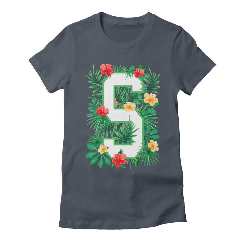 Capital Letter S Alphabet Monogram Initial Flower Gardener Women's T-Shirt by Grandio Design Artist Shop
