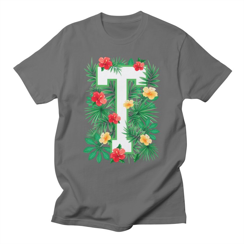 Capital Letter T Alphabet Monogram Initial Flower Gardener Men's T-Shirt by Grandio Design Artist Shop