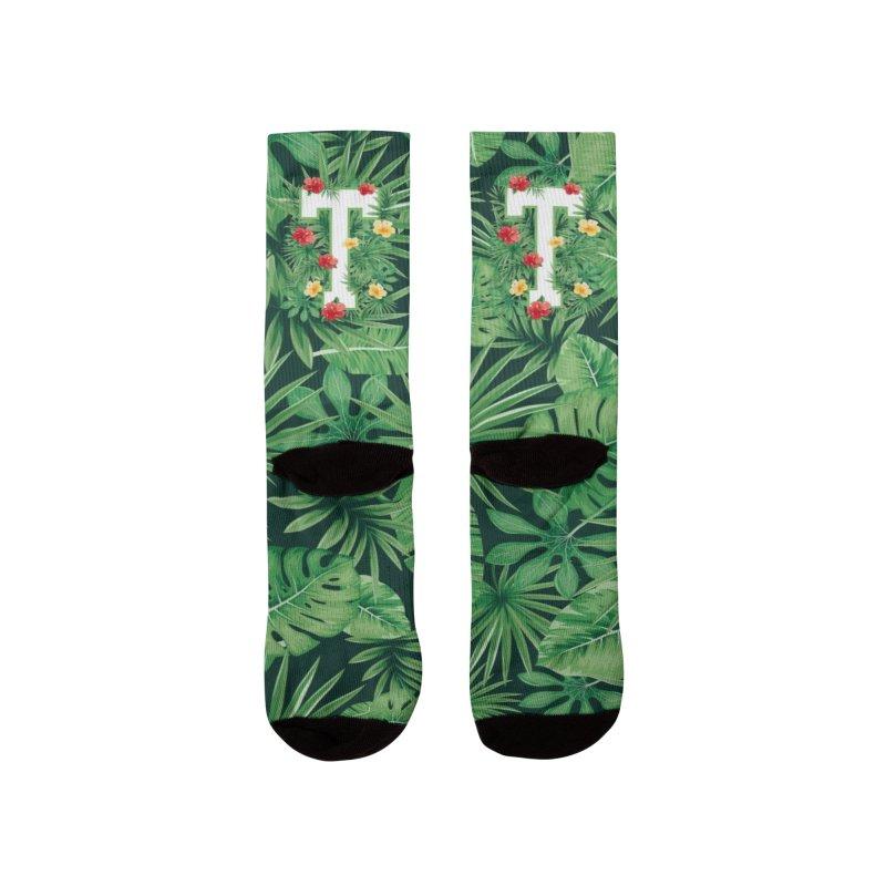 Capital Letter T Alphabet Monogram Initial Flower Gardener Men's Socks by Grandio Design Artist Shop
