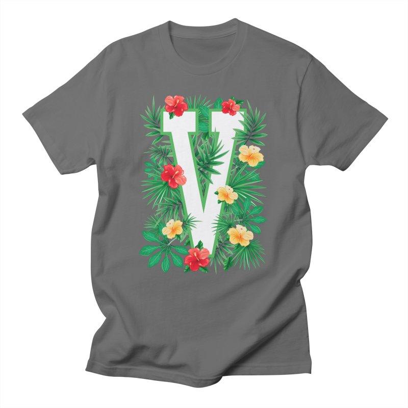 Capital Letter V Alphabet Monogram Initial Flower Gardener Men's T-Shirt by Grandio Design Artist Shop
