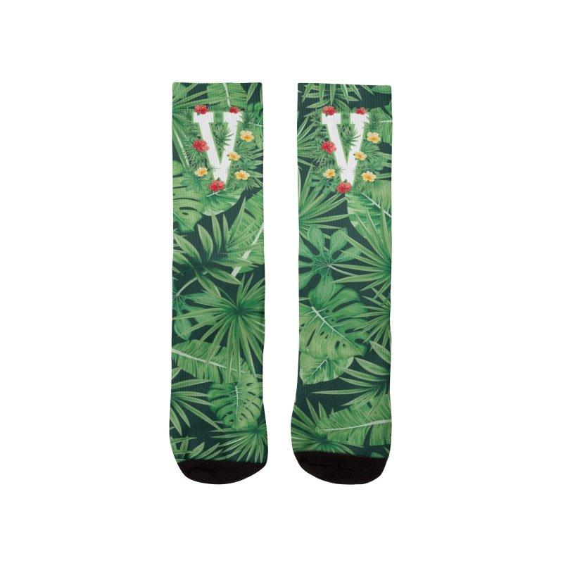 Capital Letter V Alphabet Monogram Initial Flower Gardener Men's Socks by Grandio Design Artist Shop