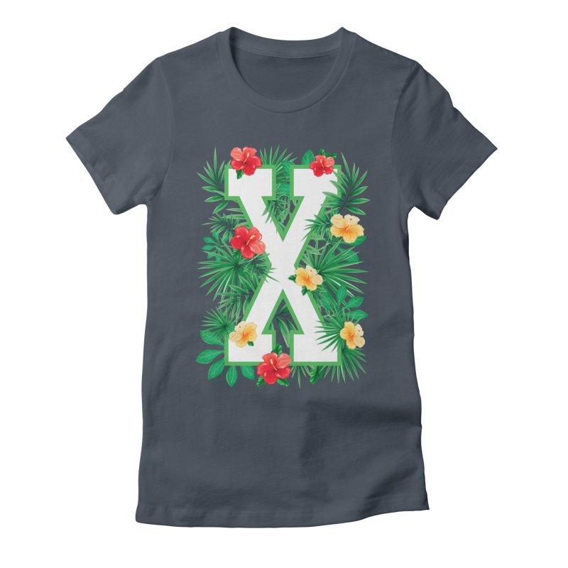 Capital Letter X Alphabet Monogram Initial Flower Gardener Women's T-Shirt by Grandio Design Artist Shop