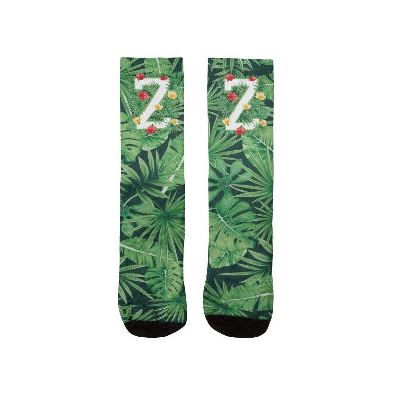 Capital Letter Z Alphabet Monogram Initial Flower Gardener Men's Socks by Grandio Design Artist Shop