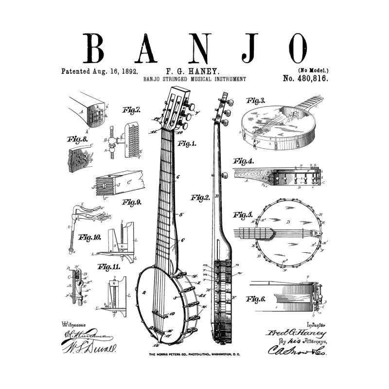 Banjo Musical Instrument Vintage Patent Drawing Print Men's Zip-Up Hoody by Grandio Design Artist Shop