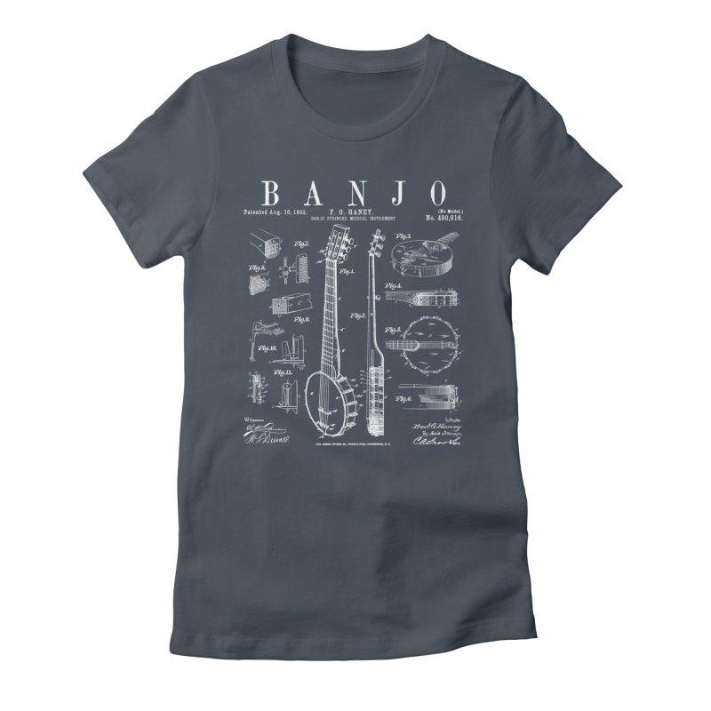 Banjo Musical Instrument Vintage Patent Drawing Print Women's T-Shirt by Grandio Design Artist Shop