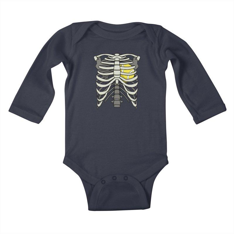 Ribcage Halloween Tennis Player Skeleton Ball Heart Kids Baby Longsleeve Bodysuit by Grandio Design Artist Shop