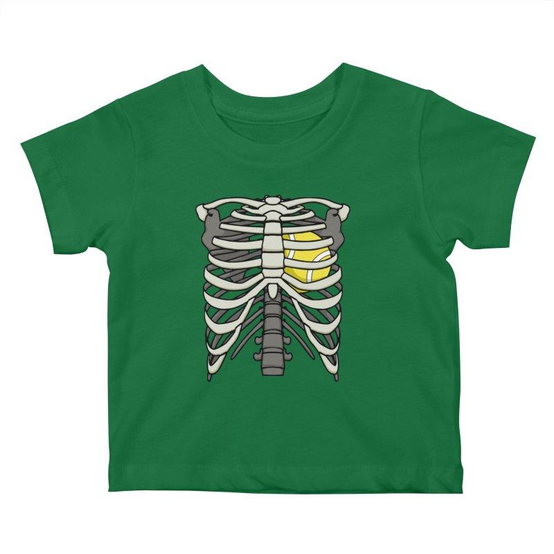 Ribcage Halloween Tennis Player Skeleton Ball Heart Kids Baby T-Shirt by Grandio Design Artist Shop