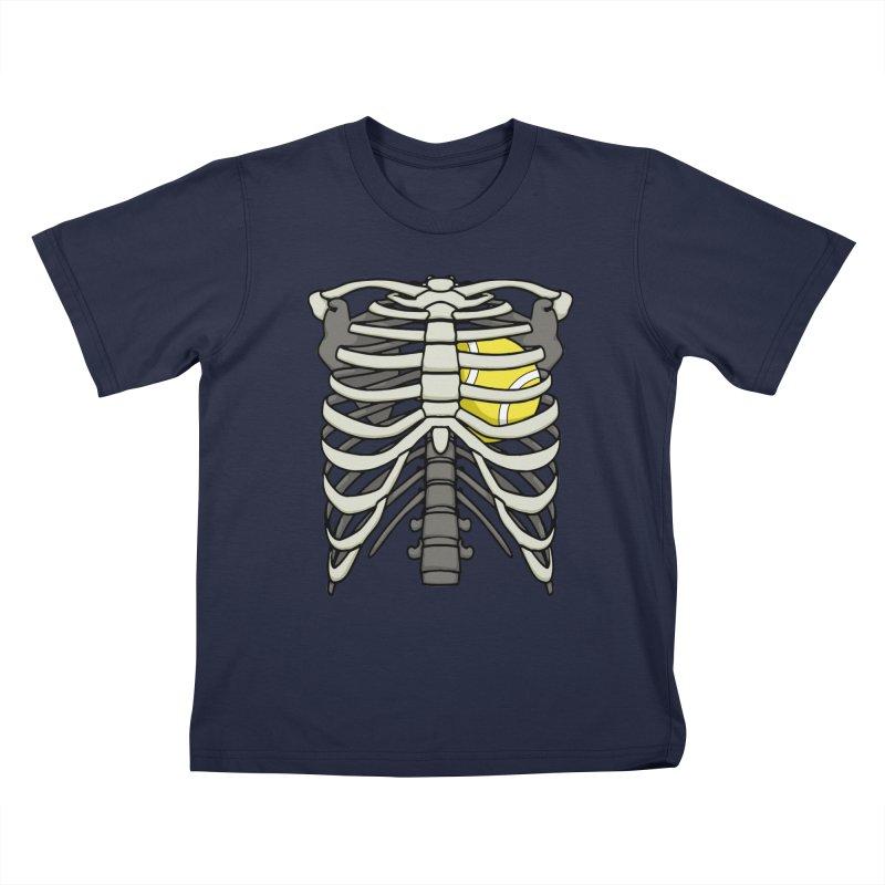Ribcage Halloween Tennis Player Skeleton Ball Heart Kids T-Shirt by Grandio Design Artist Shop