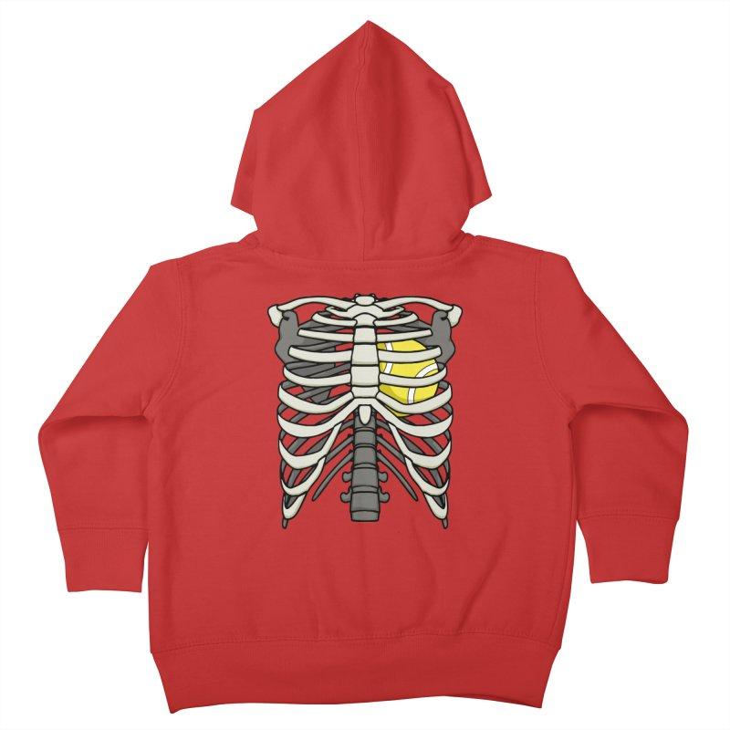 Ribcage Halloween Tennis Player Skeleton Ball Heart Kids Toddler Zip-Up Hoody by Grandio Design Artist Shop