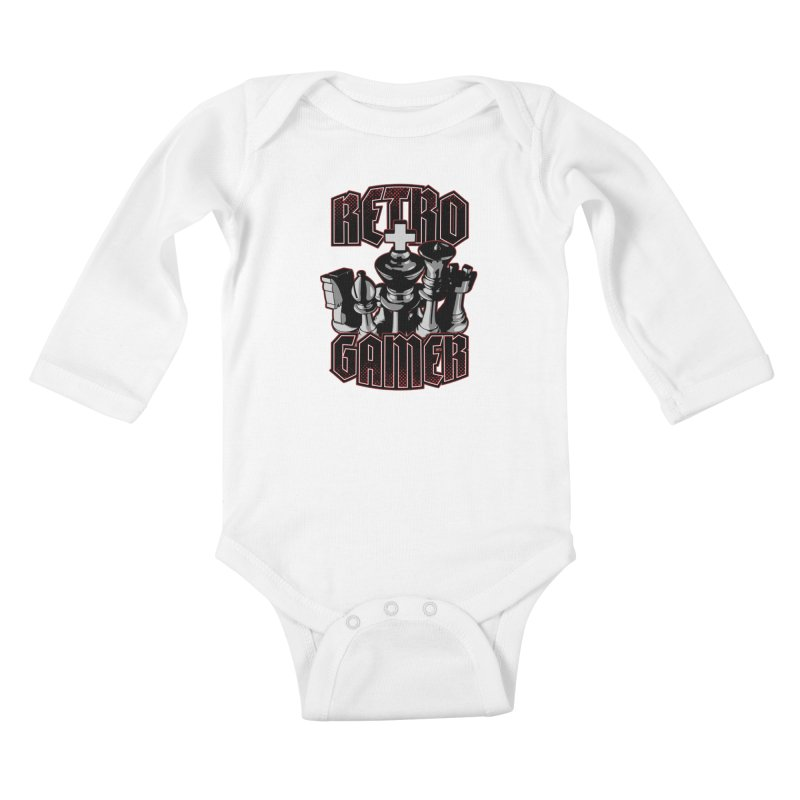 Chess Retro Gamer Kids Baby Longsleeve Bodysuit by Grandio Design Artist Shop