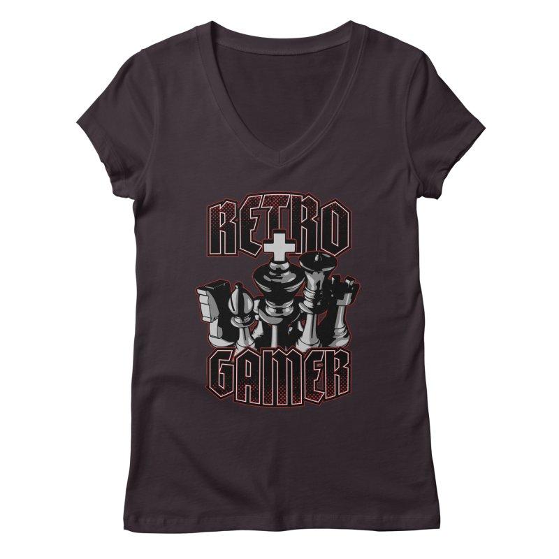 Chess Retro Gamer Women's V-Neck by Grandio Design Artist Shop