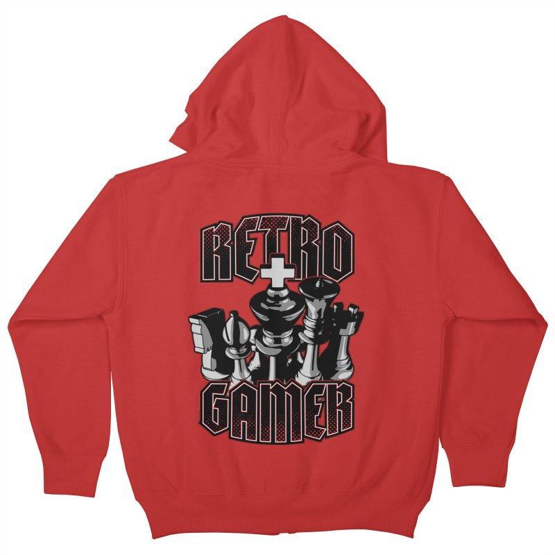 Chess Retro Gamer Kids Zip-Up Hoody by Grandio Design Artist Shop