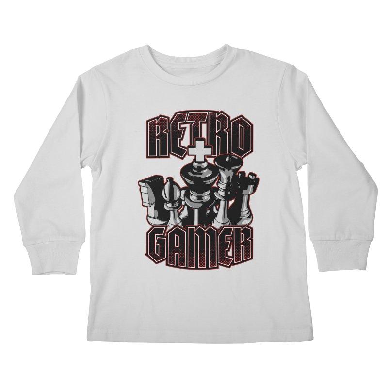 Chess Retro Gamer Kids Longsleeve T-Shirt by Grandio Design Artist Shop