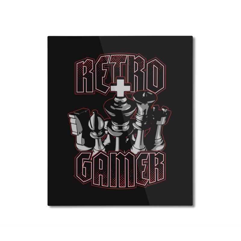 Chess Retro Gamer Home Mounted Aluminum Print by Grandio Design Artist Shop