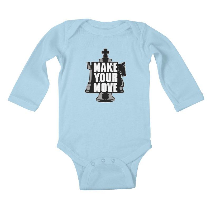 Make Your Move Chess Kids Baby Longsleeve Bodysuit by Grandio Design Artist Shop