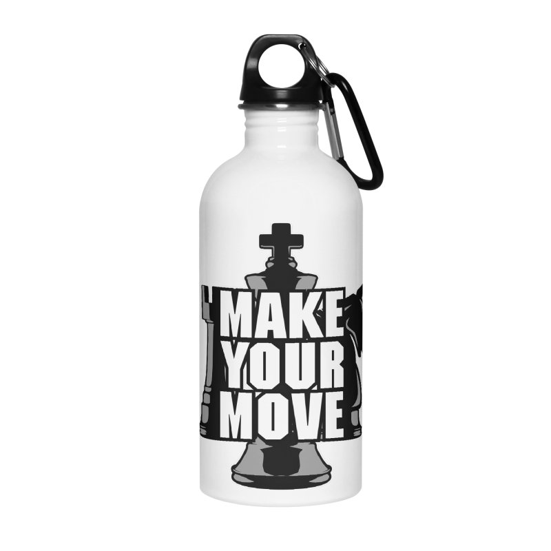 Make Your Move Chess Accessories Water Bottle by Grandio Design Artist Shop
