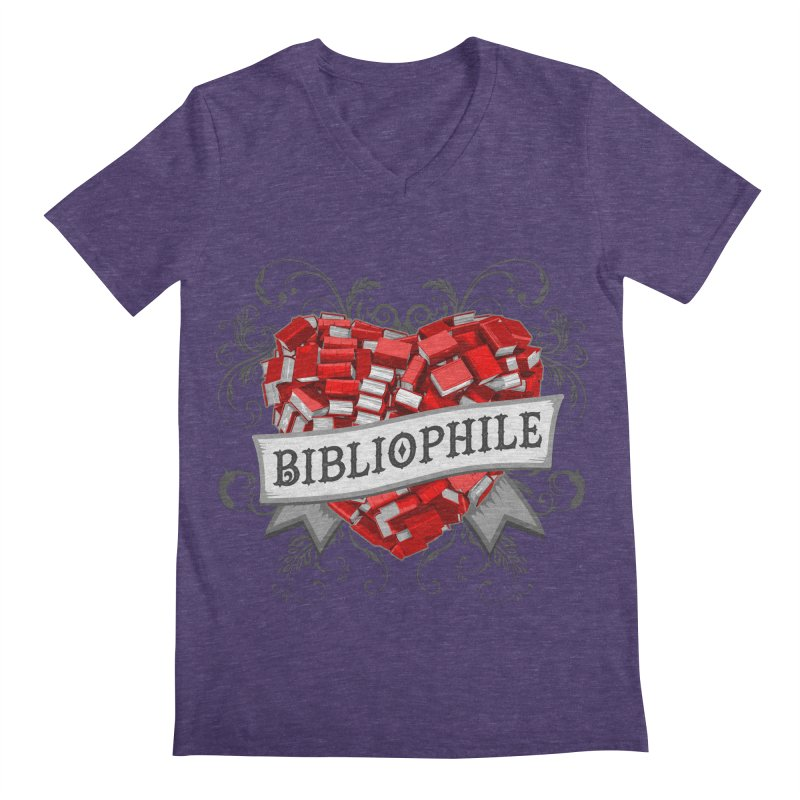 Bibliophile Heart Men's V-Neck by Grandio Design Artist Shop