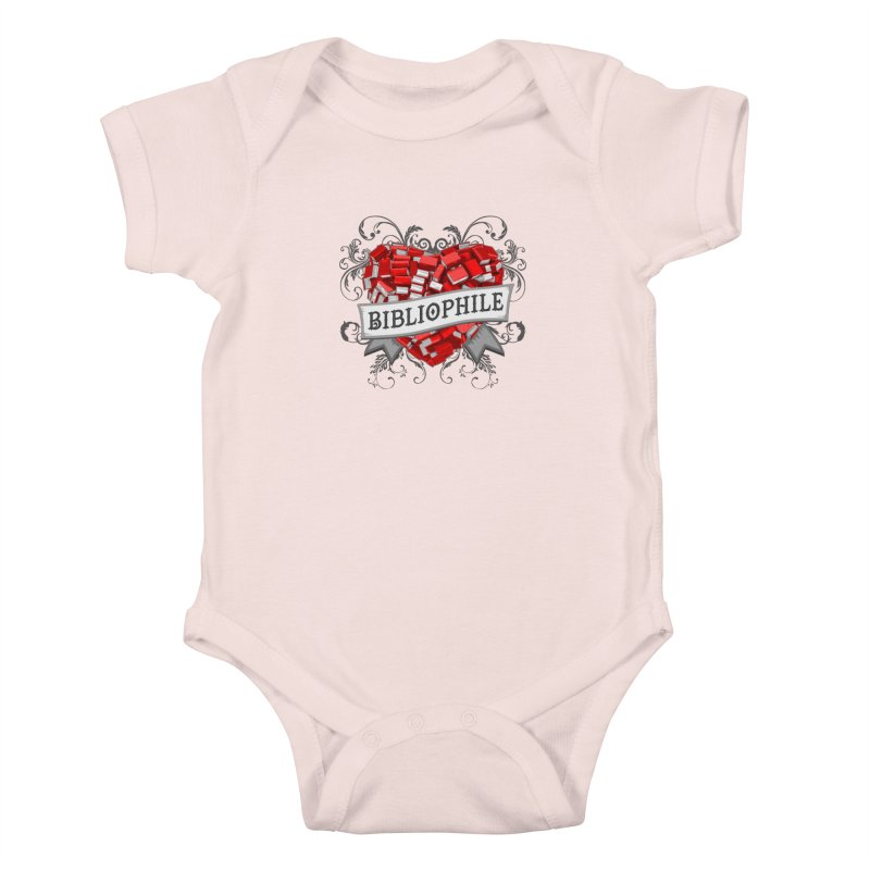 Bibliophile Heart Kids Baby Bodysuit by Grandio Design Artist Shop