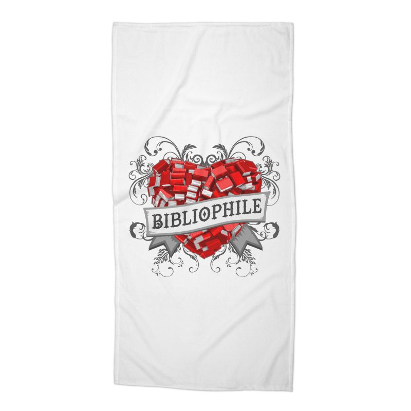 Bibliophile Heart Accessories Beach Towel by Grandio Design Artist Shop