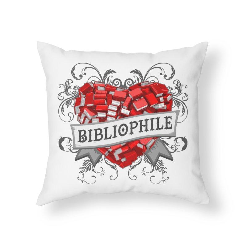 Bibliophile Heart Home Throw Pillow by Grandio Design Artist Shop
