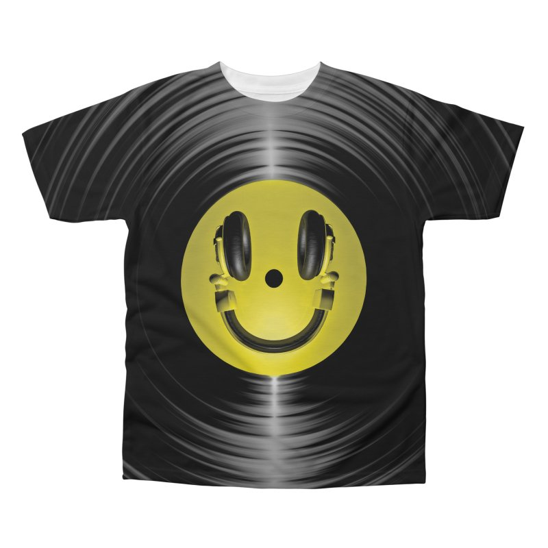 Vinyl Headphone Smiley Men's Regular All Over Print by Grandio Design Artist Shop