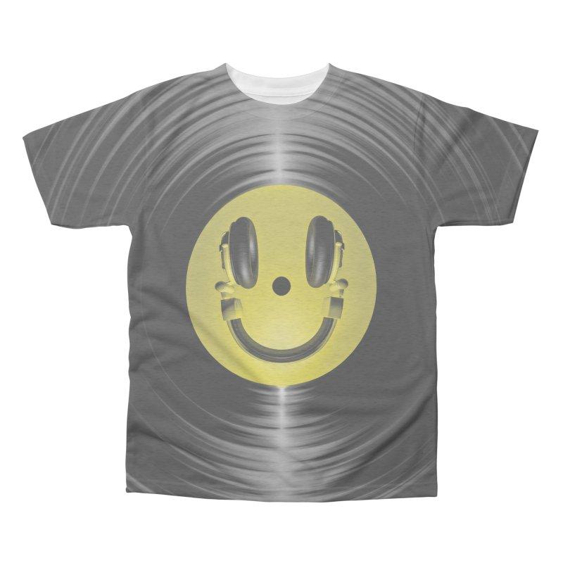 Vinyl Headphone Smiley Men's Triblend All Over Print by Grandio Design Artist Shop