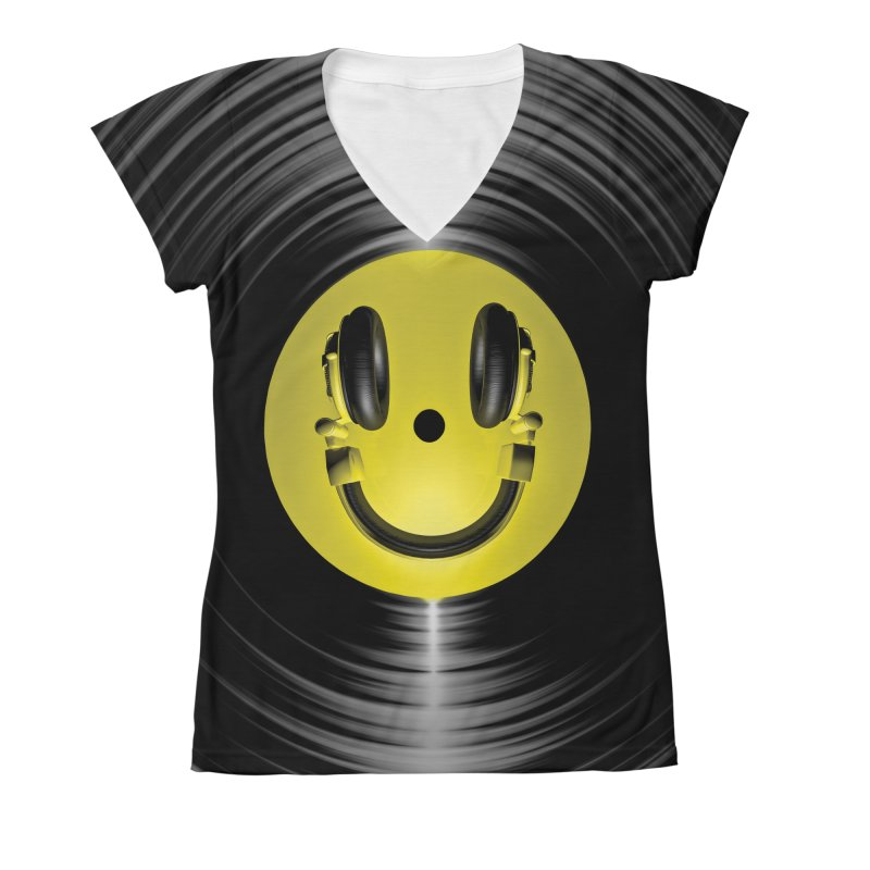 Vinyl Headphone Smiley Women's V-Neck All Over Print by Grandio Design Artist Shop