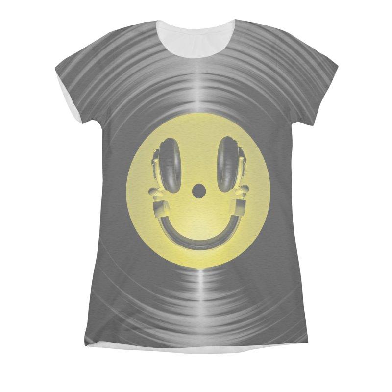 Vinyl Headphone Smiley Women's Triblend All Over Print by Grandio Design Artist Shop