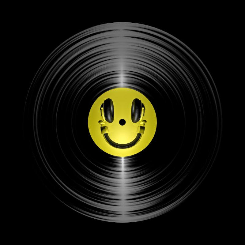 Vinyl Headphone Smiley Men's All Over Print by Grandio Design Artist Shop