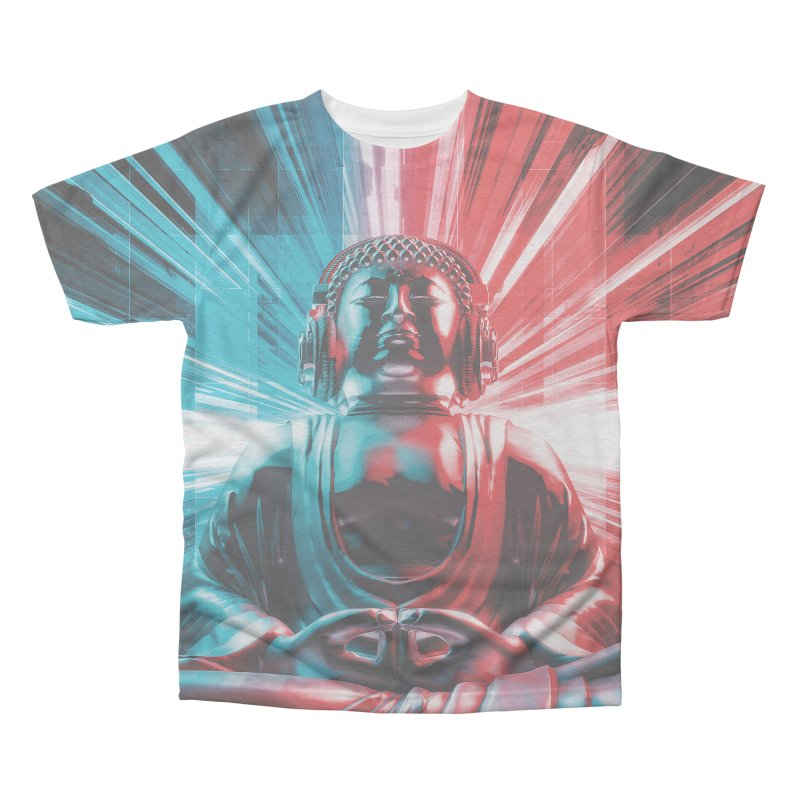 Techno Buddha Men's Triblend All Over Print by Grandio Design Artist Shop