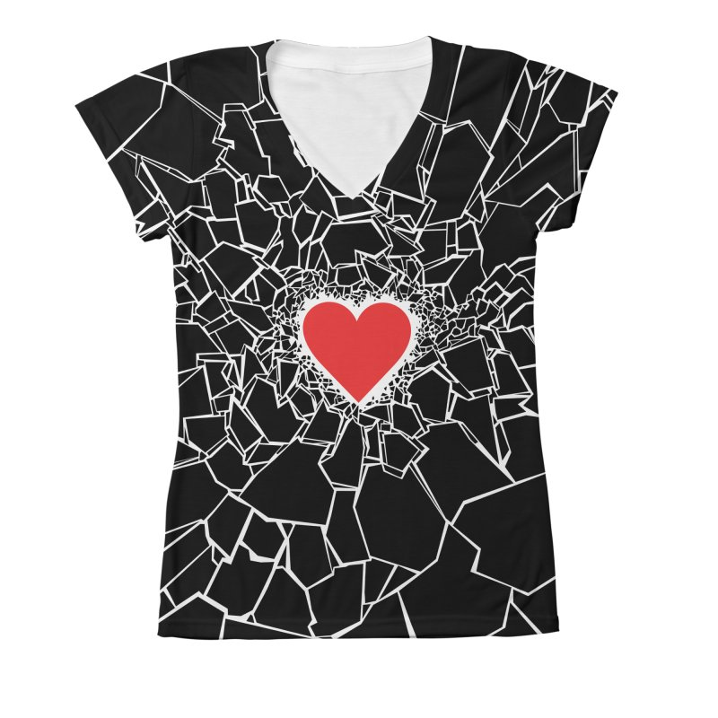 Heartbreaker III Black Women's V-Neck All Over Print by Grandio Design Artist Shop