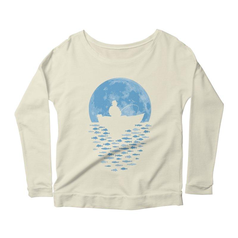 Hooked by Moonlight Women's Longsleeve Scoopneck  by Grandio Design Artist Shop