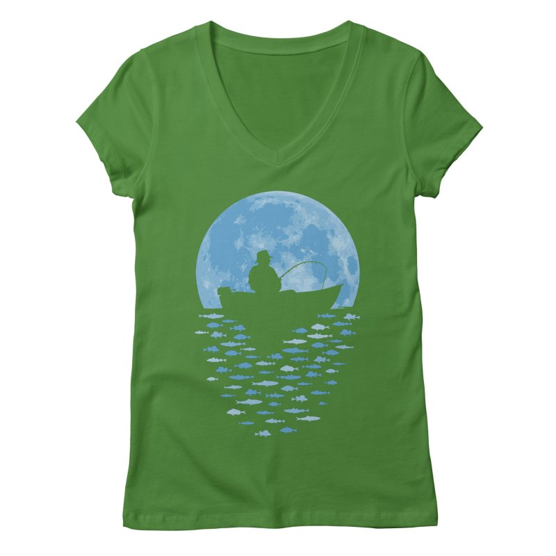 Hooked by Moonlight Women's V-Neck by Grandio Design Artist Shop