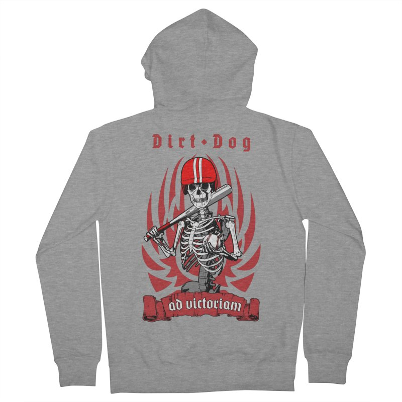 Dirt Dog Baseball Player Skeleton Women's French Terry Zip-Up Hoody by Grandio Design Artist Shop