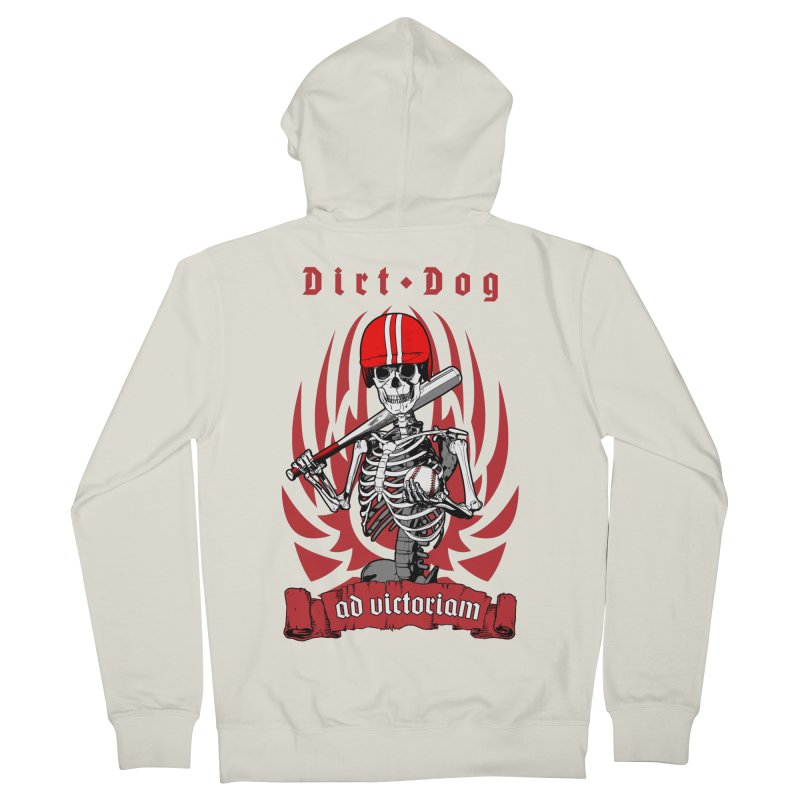 Dirt Dog Baseball Player Skeleton Women's French Terry Zip-Up Hoody by Grandio Design Artist Shop