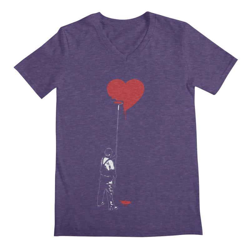 Heart Painter Graffiti Love Men's Regular V-Neck by Grandio Design Artist Shop