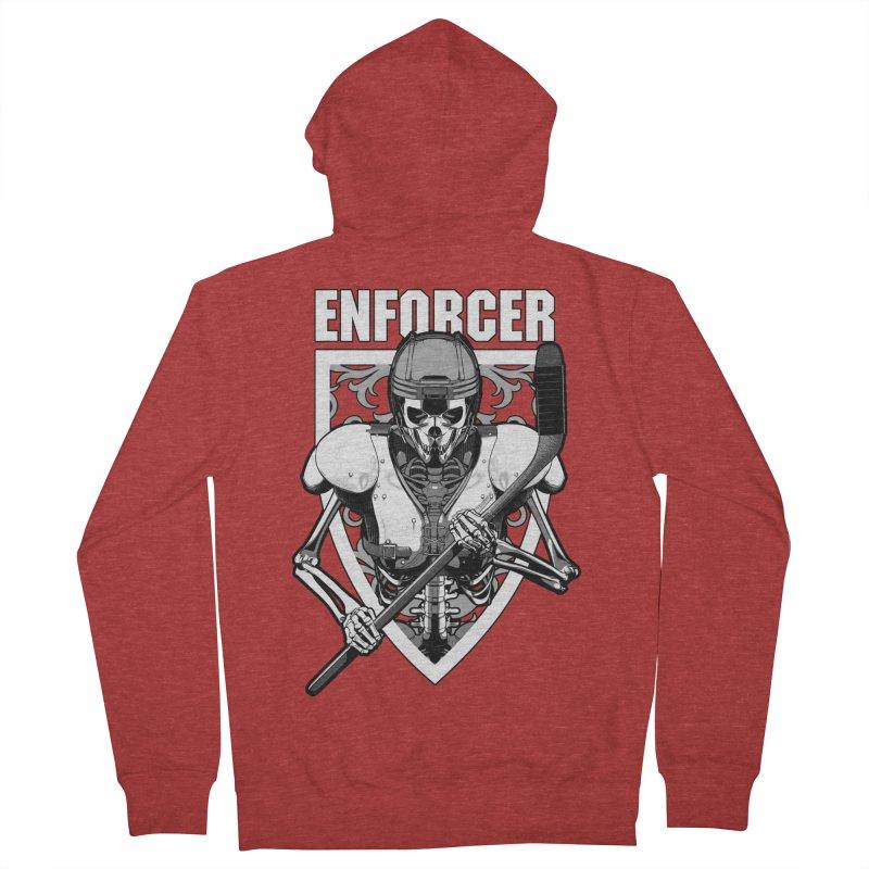 Enforcer Ice Hockey Player Skeleton Women's French Terry Zip-Up Hoody by Grandio Design Artist Shop