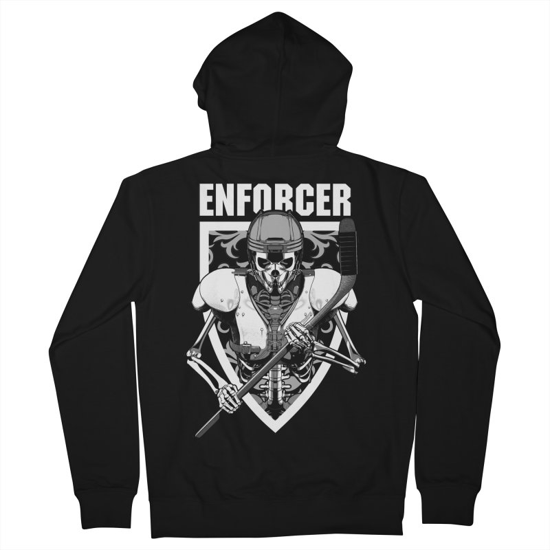Enforcer Ice Hockey Player Skeleton Women's French Terry Zip-Up Hoody by Grandio Design Artist Shop