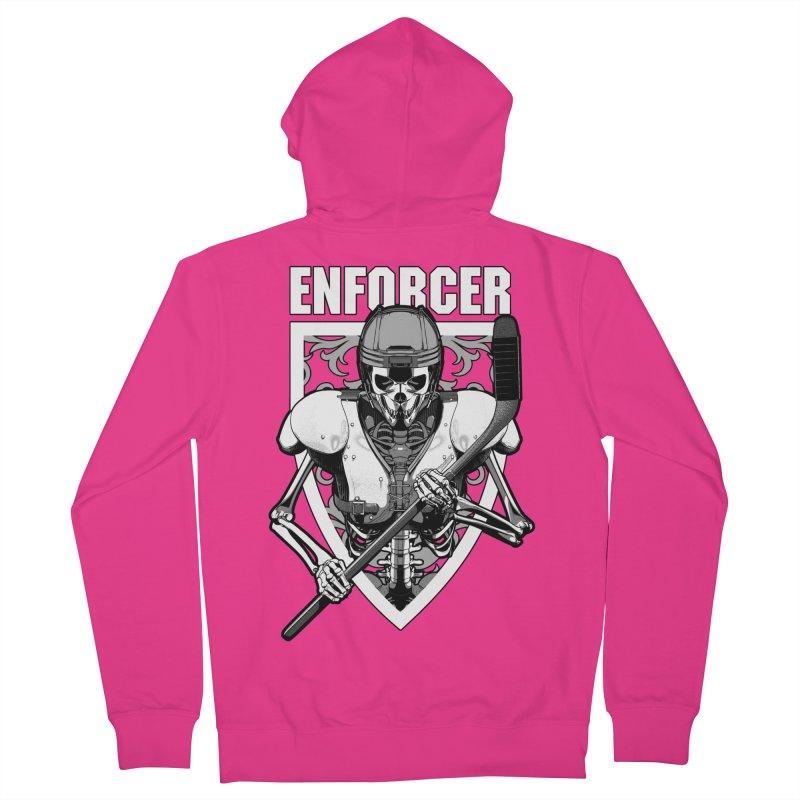 Enforcer Ice Hockey Player Skeleton Men's French Terry Zip-Up Hoody by Grandio Design Artist Shop