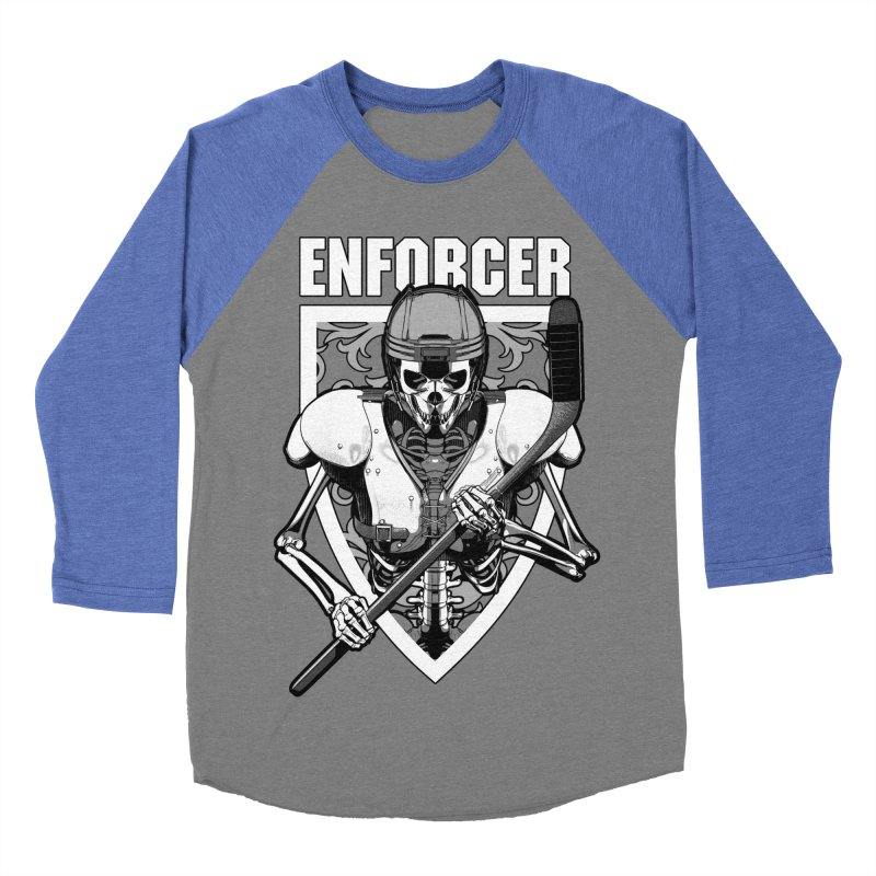 Enforcer Ice Hockey Player Skeleton Women's Baseball Triblend Longsleeve T-Shirt by Grandio Design Artist Shop