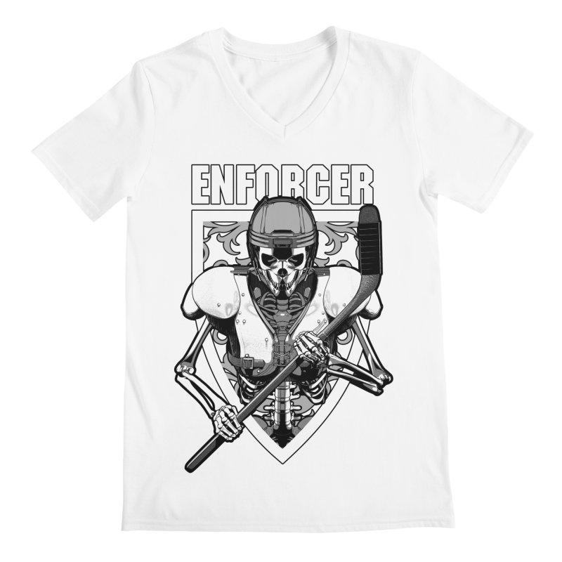 Enforcer Ice Hockey Player Skeleton Men's Regular V-Neck by Grandio Design Artist Shop