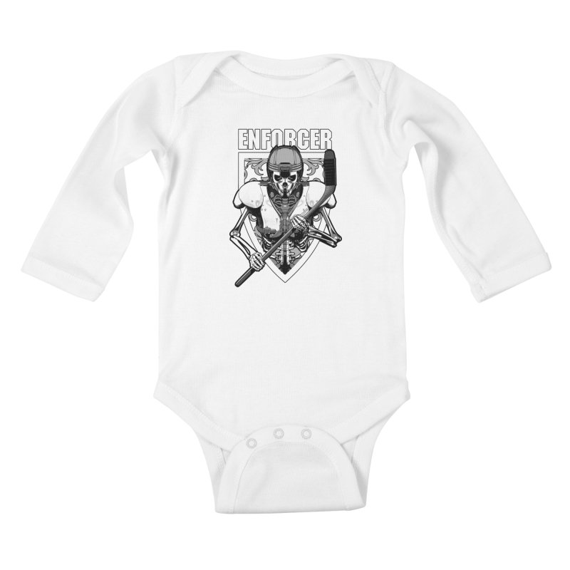 Enforcer Ice Hockey Player Skeleton Kids Baby Longsleeve Bodysuit by Grandio Design Artist Shop