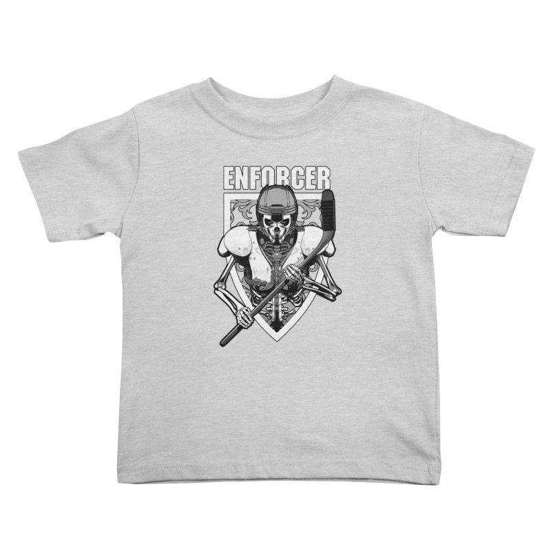 Enforcer Ice Hockey Player Skeleton Kids Toddler T-Shirt by Grandio Design Artist Shop