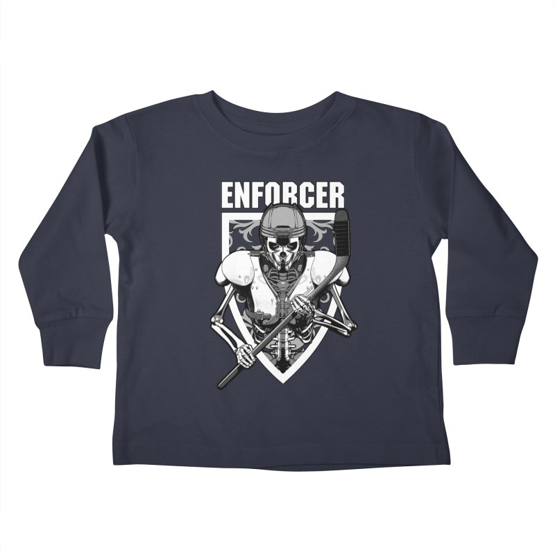 Enforcer Ice Hockey Player Skeleton Kids Toddler Longsleeve T-Shirt by Grandio Design Artist Shop