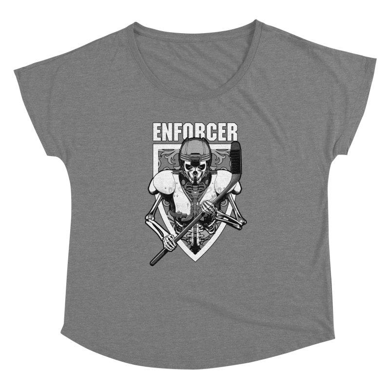 Enforcer Ice Hockey Player Skeleton Women's Dolman Scoop Neck by Grandio Design Artist Shop